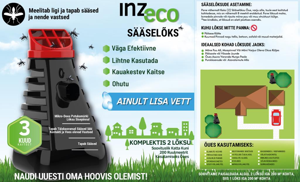 INZ-ECO Mosquito Trap sääselõks/sääsepüünis (2tk karbis)